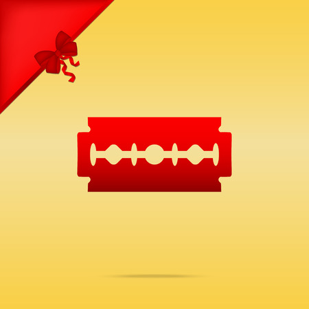 cristmas: Razor blade sign. Cristmas design red icon on gold background.