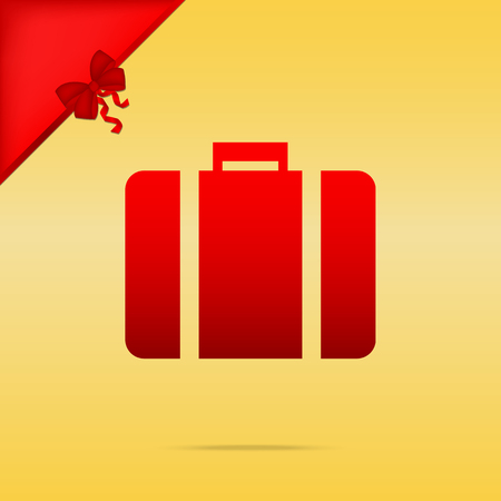 Briefcase sign illustration. Cristmas design red icon on gold background. Illustration