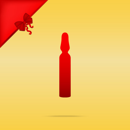 ampoule: Medical ampoule sign. Cristmas design red icon on gold background. Illustration