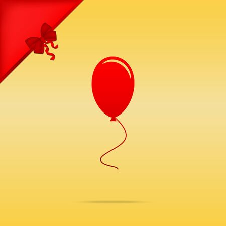 cristmas: Balloon sign illustration. Cristmas design red icon on gold background.