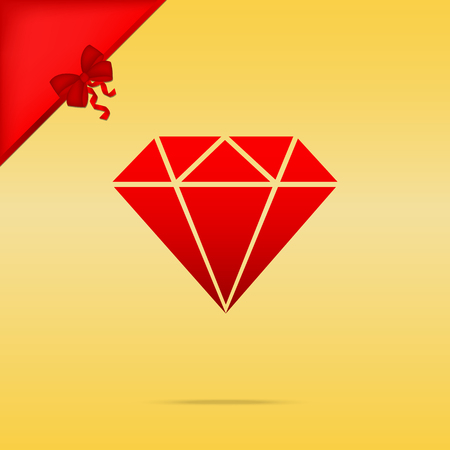 karat: Diamond sign illustration. Cristmas design red icon on gold background.
