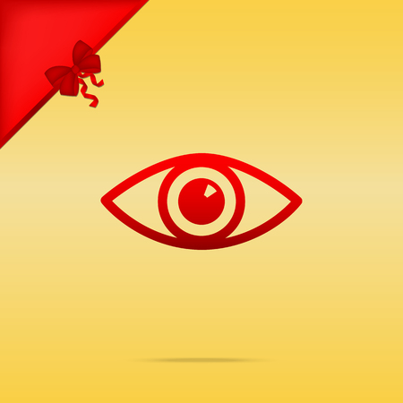 cristmas: Eye sign illustration. Cristmas design red icon on gold background.