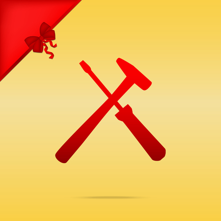 Tools sign illustration. Cristmas design red icon on gold background.