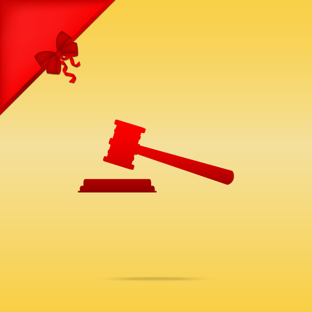 auctioneer: Justice hammer sign. Cristmas design red icon on gold background.