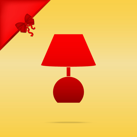 cristmas: Lamp sign illustration. Cristmas design red icon on gold background.