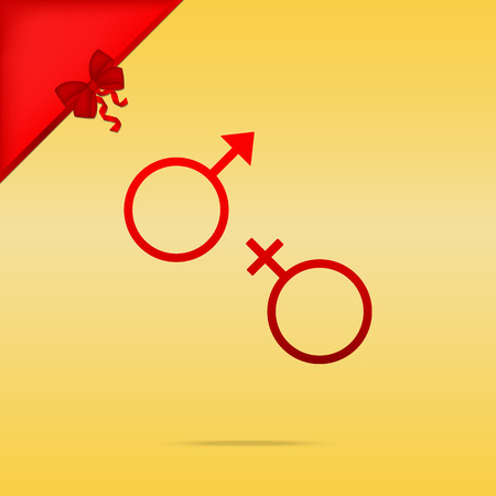 sex symbol: Sex symbol sign. Cristmas design red icon on gold background.