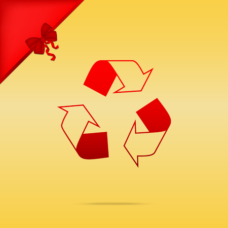 Recycle logo concept. Cristmas design red icon on gold background.