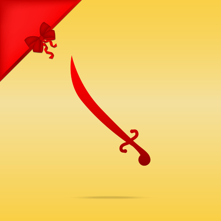 Sword sign illustration. Cristmas design red icon on gold background.