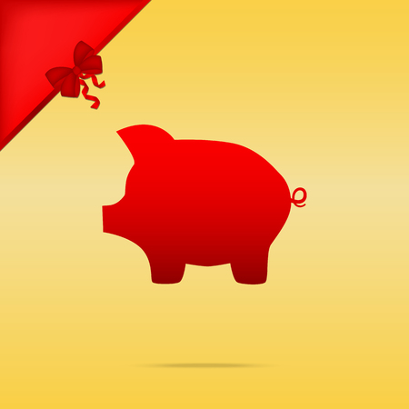 moneyed: Pig money bank sign. Cristmas design red icon on gold background.