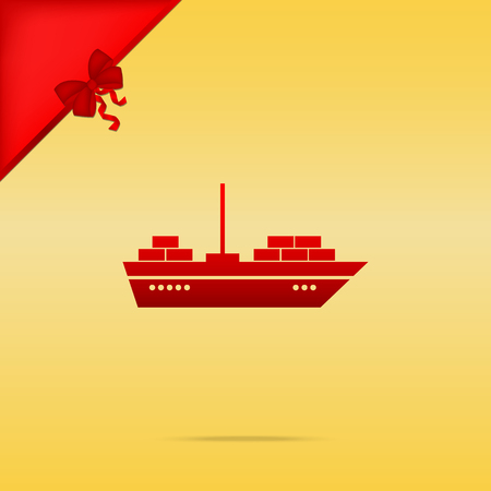 inflate boat: Ship sign illustration. Cristmas design red icon on gold background.