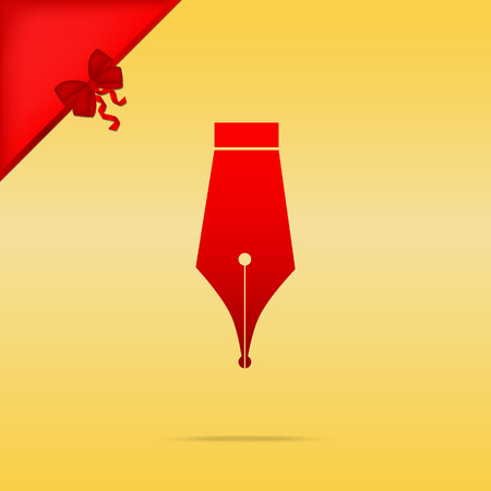 Pen sign illustration. Cristmas design red icon on gold background. Illustration
