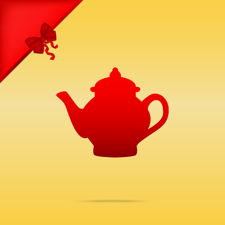 Tea maker sign. Cristmas design red icon on gold background. Illustration