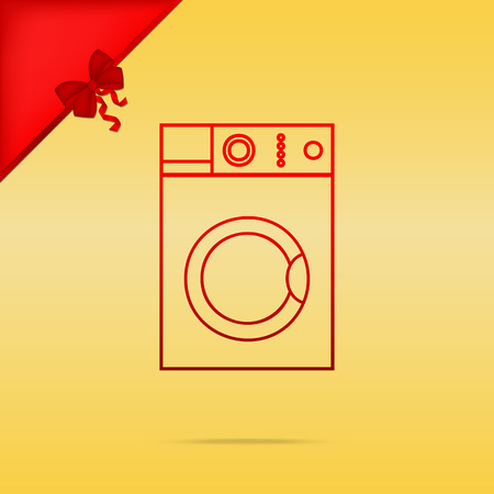major household appliance: Washing machine sign. Cristmas design red icon on gold background. Illustration