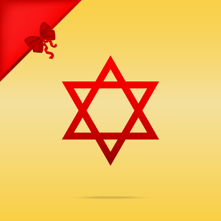 Shield Magen David Star. Symbol of Israel. Cristmas design red icon on gold background. Illustration