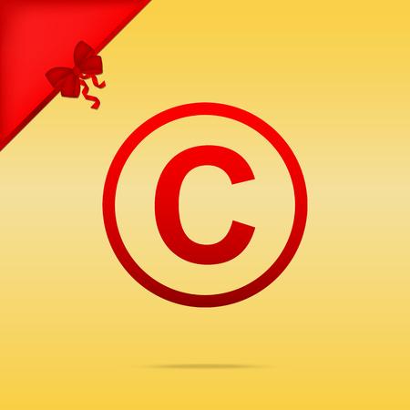 Copyright sign illustration. Cristmas design red icon on gold background. Illustration