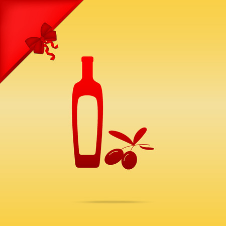 dressing: Black olives branch with olive oil bottle sign. Cristmas design red icon on gold background.