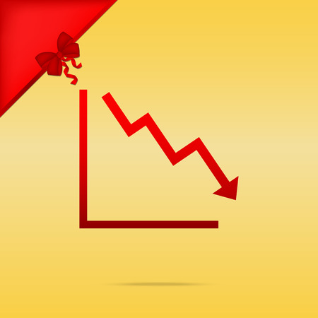 Arrow pointing downwards showing crisis. Cristmas design red icon on gold background. Illustration