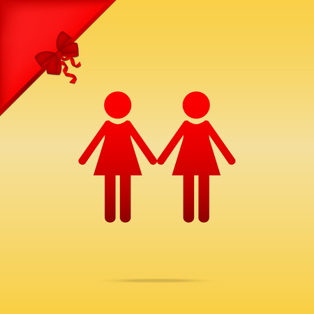 Lesbian family sign. Cristmas design red icon on gold background.