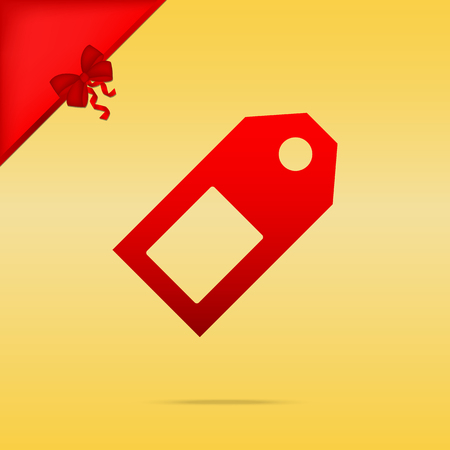 Price tag sign. Cristmas design red icon on gold background. Иллюстрация