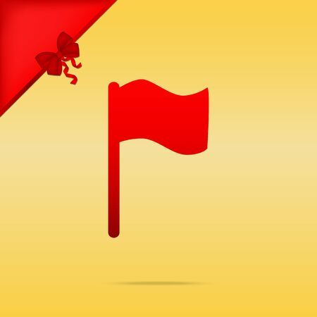 cristmas: Flag sign illustration. Cristmas design red icon on gold background.