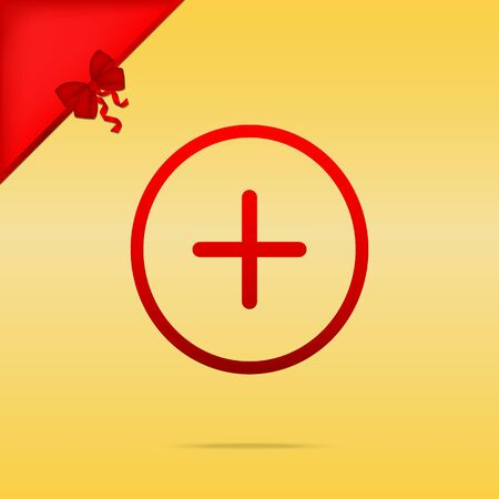 Positive symbol plus sign. Cristmas design red icon on gold background.