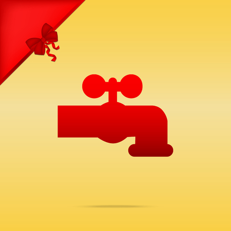 Water faucet sign illustration. Cristmas design red icon on gold background.