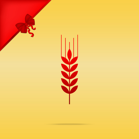 Wheat sign illustration. Cristmas design red icon on gold background.