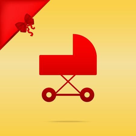 Pram sign illustration. Cristmas design red icon on gold background.