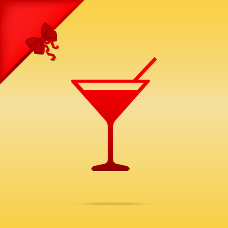 Cocktail sign illustration. Cristmas design red icon on gold background. Illustration