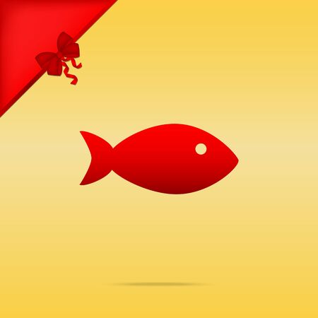 cristmas: Fish sign illustration. Cristmas design red icon on gold background.