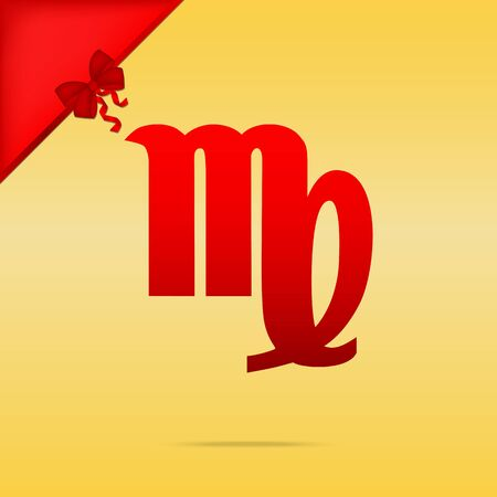 Virgo sign illustration. Cristmas design red icon on gold background. Illustration