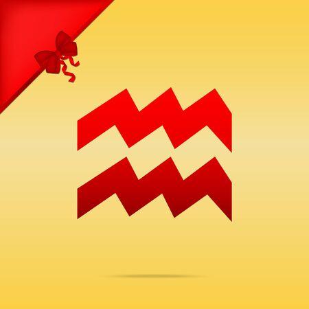 Aquarius sign illustration. Cristmas design red icon on gold background.