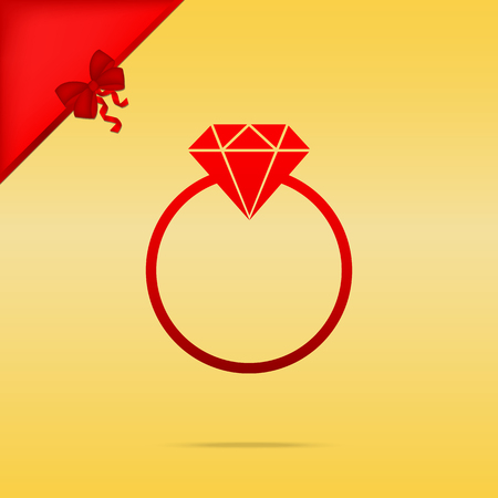 Diamond sign illustration. Cristmas design red icon on gold background.
