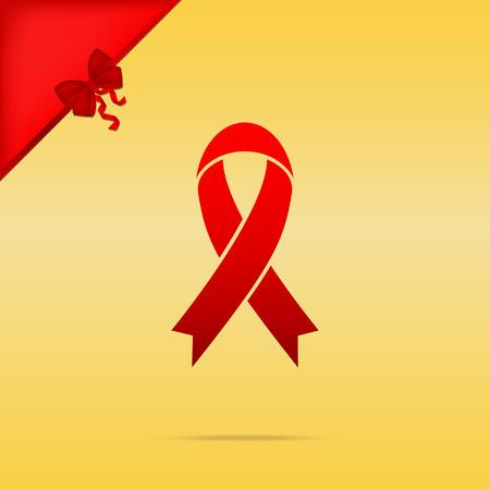 Black awareness ribbon sign. Cristmas design red icon on gold background. Illustration