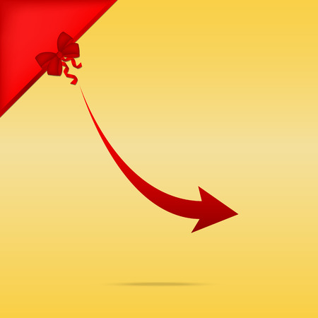 Declining arrow sign. Cristmas design red icon on gold background.