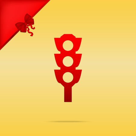 Traffic light sign. Cristmas design red icon on gold background. Illustration