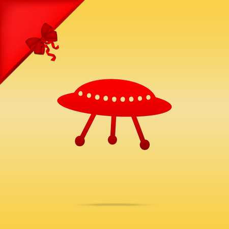 UFO simple sign. Cristmas design red icon on gold background.