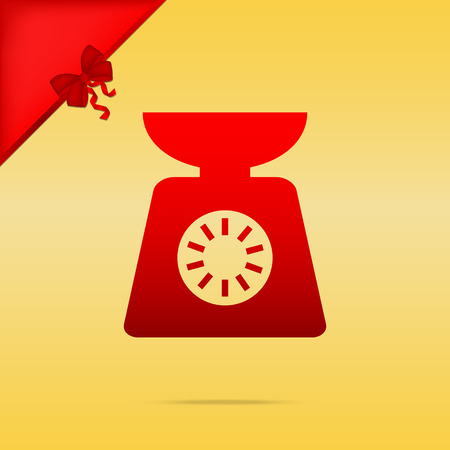 Kitchen scales sign. Cristmas design red icon on gold background.