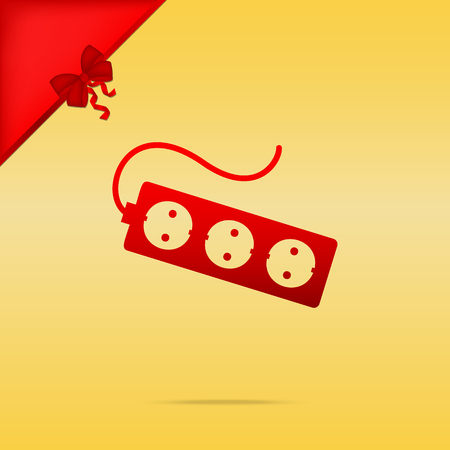Electric extension plug sign. Cristmas design red icon on gold background. Illustration