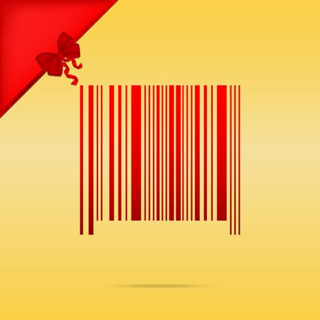 Bar code sign. Cristmas design red icon on gold background.