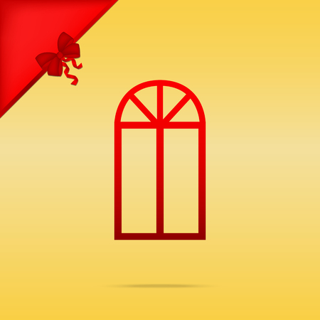 Cristmas: Window simple sign. Cristmas design red icon on gold background.