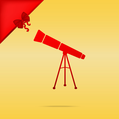 Telescope simple sign. Cristmas design red icon on gold background. Illustration