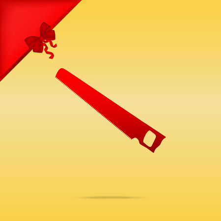 Saw simple sign. Cristmas design red icon on gold background. Illustration