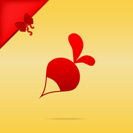 Radish simple sign. Cristmas design red icon on gold background.