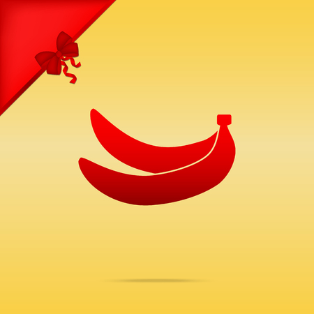 Banana simple sign. Cristmas design red icon on gold background.
