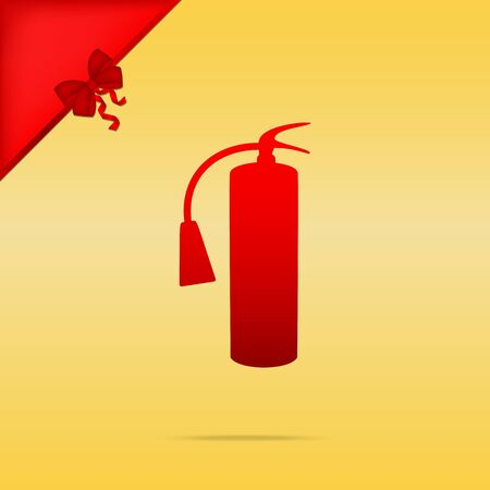 Fire extinguisher sign. Cristmas design red icon on gold background. Illustration