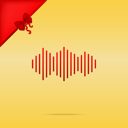 Sound waves icon. Cristmas design red icon on gold background.