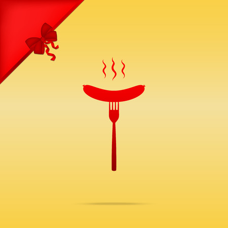 Sausage on fork sign. Cristmas design red icon on gold background. Illustration