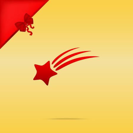 starfall: Shooting star sign. Cristmas design red icon on gold background.