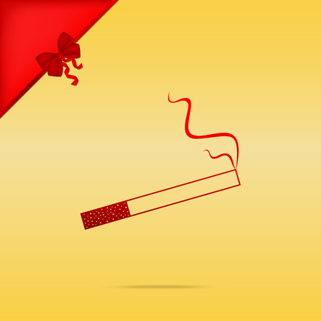 Smoke icon great for any use. Cristmas design red icon on gold background.